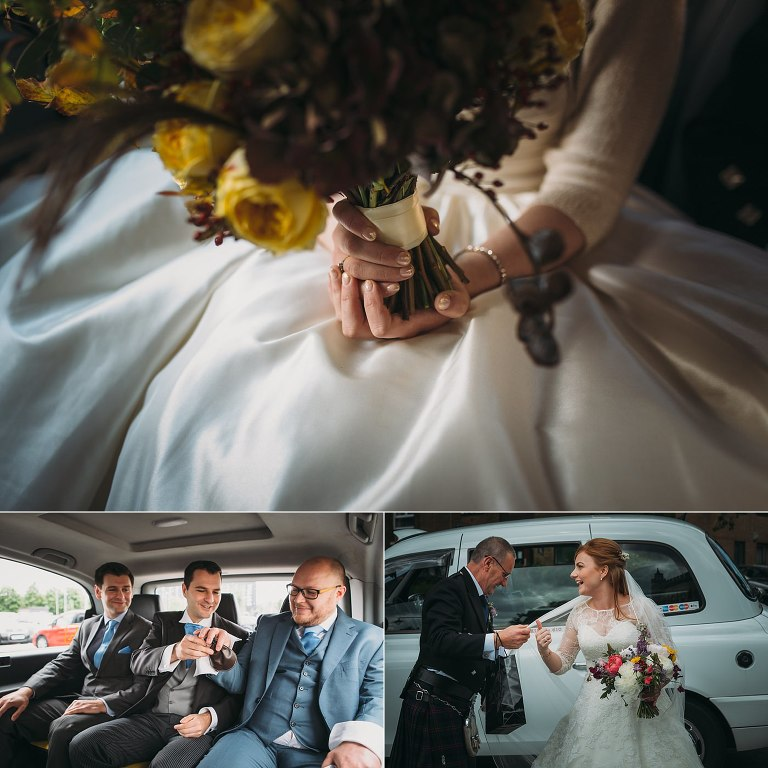 ceremony timeline - arriving by taxi to your wedding