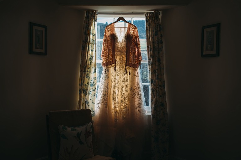 The brides dress for her perthshire scottish elopement