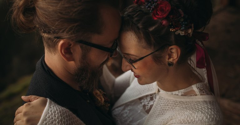 An austrian couple embrace on the day of their wedding