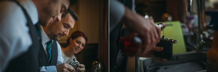 Groom fills his hip flask ahead of his Christmas wedding at Glen Tanar