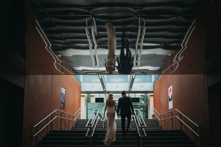 a cinematic shot in stairway at the baltic - best wedding photographs