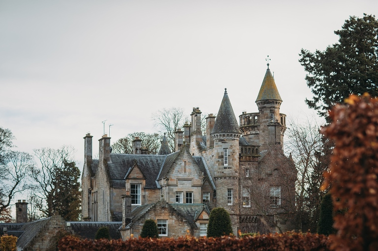 View from the gardens - Carlowrie Castle winter wedding